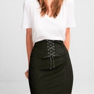 Corset-Front High-Waisted Pencil Skirt *NWT*